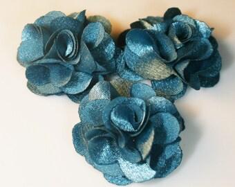 5Pcs-25mm 10Colors Small Satin Flower-Cobalt(F220-Cobalt)