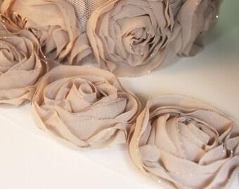 1yd-18pcs(43mm) organza rose trim 6colors for hair accessory,clothing,deco,etc. -(D314-Mocha)