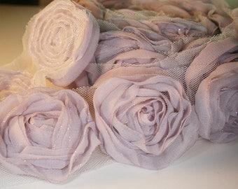1yd-18pcs(43mm) organza rose trim 9colors for hair accessory,clothing,deco,etc. (D314-Lilac)