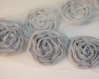 1/2yd-30mm 5colors organza little Fold roses chiffon trim Lace-(C127Gray)