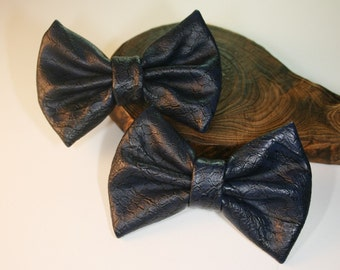 2Pcs-80mmX55mm Snake Skin Style Leather Ribbon Bow 6Colors(C513Navyblue)