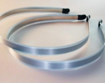 10PCS-10MM Handmade Satin Headband with end rubber tip -Sky Blue (E260-Sky Blue)