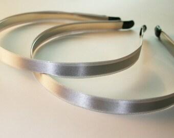 10PCS-10MM Handmade Satin Headband with end rubber tip -GRAY (E260-Gray)