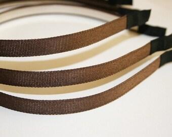 10PCS-10MM Grosgrain Ribbon High Flex Metal Headband and End Fabric tape tip, Handmade-BROWN(E201-B)