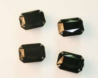 10pcs-10mmX15mm Fancy Rhinestone Rectangle Cut  With Attachable Metal Wrap (A456Black)