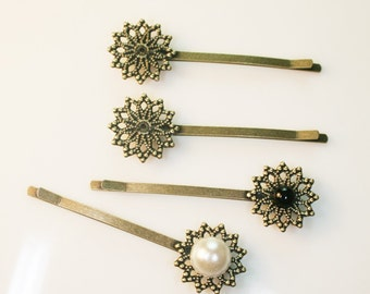 10PCS-PAD55mm Antique Bronze Bobby Pin with 20mm Filigree Pad(D309)