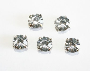 20pcs-10mm Fancy Round Cut With Attachable Metal Wrap White(A167-30)