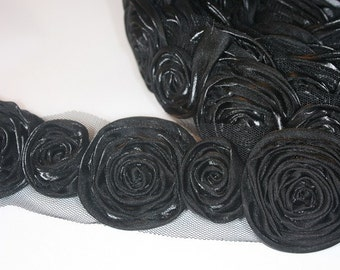 1yd organza 2size rose satin trim for corsage,necklace,hair accessory,etc -Black(G100-BL)