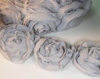 Organza Rose Trim Satin for hair accessory,clothing,deco,etc1/2yd-9pcs(43mm) 9colors avail(D314-Gray)
