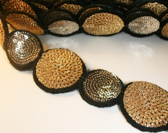 2yd-(24pcs) 2 SizeRound Gold/Gold Sequin trim For Accessory,Art deco,Clothing,etc.(C302)