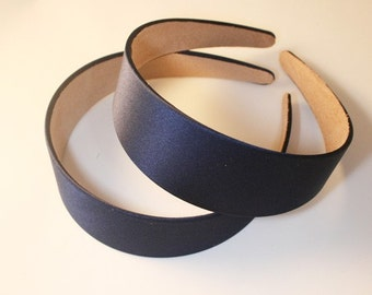 6PCS-40MM Handmade Satin Headband - Navy Blue(G103-Navy Blue)