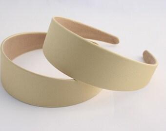 2PCS-40MM Handmade Satin Headband-Yellowish Beige(G103-Yellowish Beige)