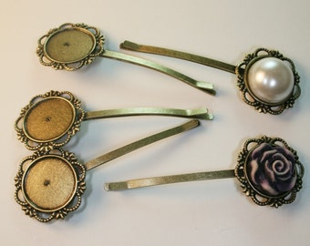 20 pcs Antique Bronze Bobby Pin with Filigree Pad 20pcs-18 mm pad, 70mm in length(C516)