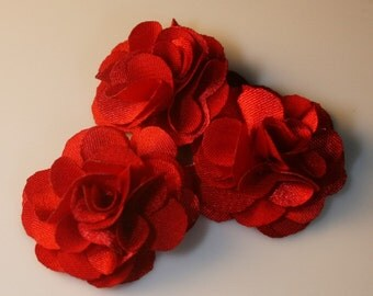 10Pcs-25mm 10Colors Small Satin Flower (F220-Red)