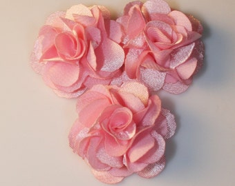 10Pcs-25mm 10Colors Small Satin Flower (F220-Pink)