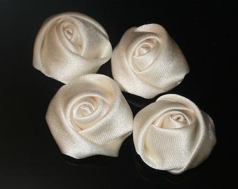20Pcs-25mm 7Colors Small Satin Roses(F201 -Ivory)