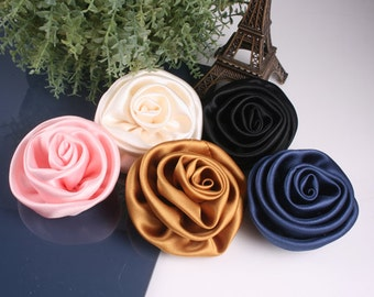 "5pcs70mm(2 3/4"") Satin Roses for corsage,shoes,accessory etc.5colors(F244-5colors)"