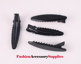 50pcs-47mm Oval Black Single Alligator Hair Clips with Teeth(B176-Black)