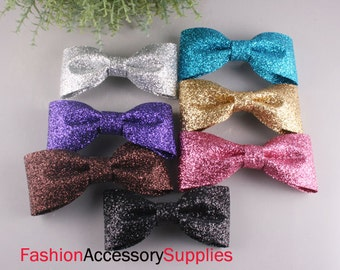 7PCS-97mm Glitter Ribbon Bow made of Specially Formulated Fabric,thin,soft but hold the shape -1of each Color(B219)