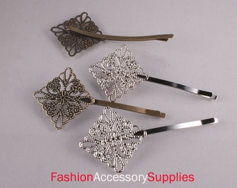 50Pcs-pad25mm   Total Size 72mm Antique Bronze,Silver Bobby Pin with Filigree Pad-25of each color(C556)