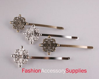 50PCS-30MM Antique Bronze ,Silver Bobby Pin with Filigree Pad 25 of each color(E287)