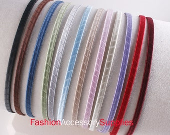 20PCS-5mm Handmade Metal Headband wrapped with Satin Ribbon 12Colors-Choose Your Color (G125)