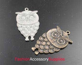 4pcs-34mm Antiqued Bronze,Silver Patina Owl charms,Pendants 2of each color(A132-C)