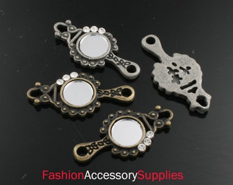 2pcs-26mm Antiqued Bronze,Silver Patina Mirror With Cubic charms,Pendants 1of each color(A179)