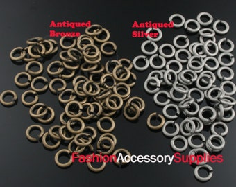 10grams-5X1mm Antiqued Bronze,Silver Brass Jump Rings (A469)