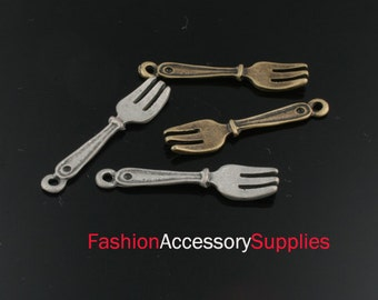 8pcs-27mm Antiqued Bronze,Silver Brass Fork charms,Pendants 4of each color(A486)