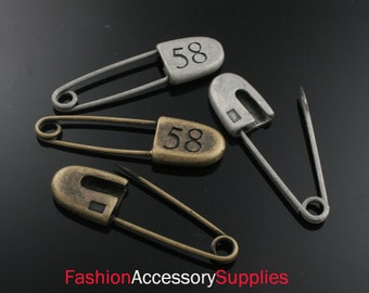 4pcs-38mm Antiqued Bronze,Silver Patina Safety pin charms,Pendants 2 of each color(A487)