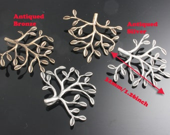 4pcs-32mm Antiqued Bronze,Silver Patina Tree charms,Pendants 2of each color(A494)
