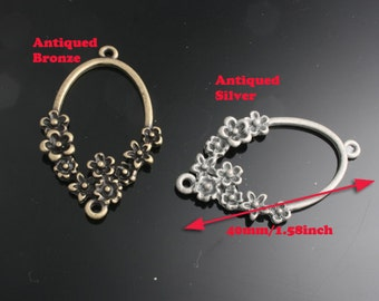 4pcs-40mm Antiqued Bronze,Silver Patina Flower Rings charms,Pendants 2of each color(A496)