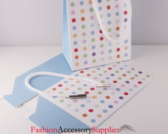 5pcs-Fancy Paper Gift Boxes with Handle, Multi colored Dot Printed(H100)