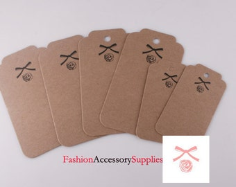 25pcs-60mmX111mm Kraft tags, Blank hang tags, labels for your project, Brown Thick Rigid Paper(H105)