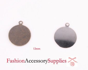 50pcs-12mm Silver,Antique Bronze Pendant Charm Base for Accessories and Jewelry-25 of each color (A507)