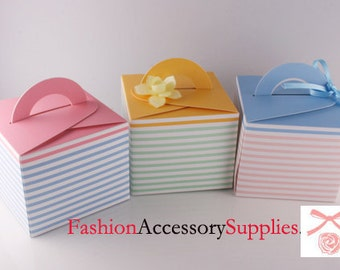 30pcs-Paper Gift Boxes, Cupcake, Self Handled, Stripes Printed  10of each colors(H101)