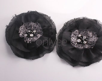 1pcs-118mm Rhinestone Centered Chiffon Poppy Flower for corsage,clothing,accessory and more-Black(F211)