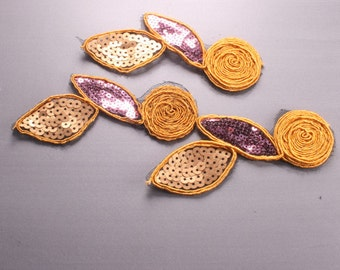 5pcs-214mm Sequin Lace Trim for corsage,Clothing,accessory,Art deco and more(F209Yellow)