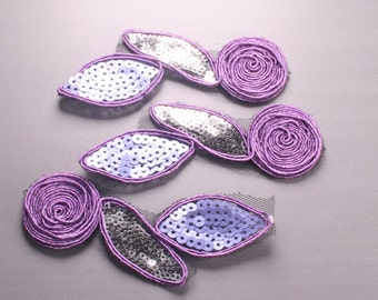 10pcs-214mm Sequin Lace Trim for corsage,Clothing,accessory,Art deco and more(F209Purple)