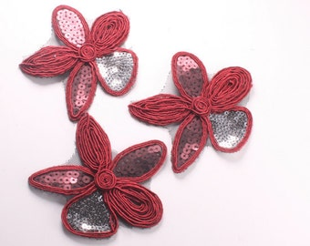 8pcs-84mm Sequin Flower for corsage,clothing,accessory and more(F214Red)