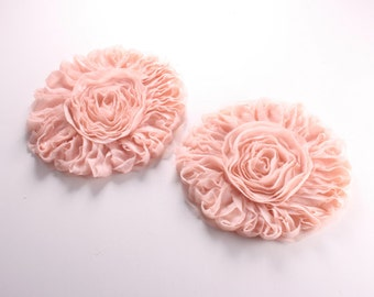 50% 4pcs-127mm Big Chiffon Flower for corsage,clothing,accessory and more-(F215Peach)