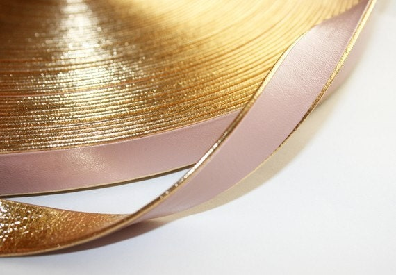 2yd-10mm Gold Line Artficial Leather Ribbon-light pink(E208)