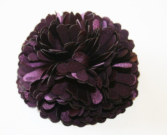50% off 2pcs-70mmX H 33mm satin flower for corsage,shoes,accessory etc-dark purple(F231-DP)