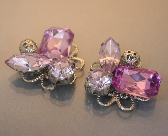 4pcs-23mm Purple Rhinestone Motive With Sliver Base(D382-Purple)