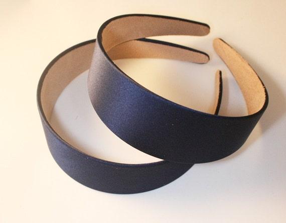 2PCS-40MM Handmade Satin Headband  -Navy Blue(G103-Navy Blue)