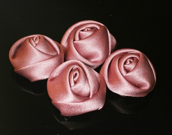 5Pcs-25mm 7Colors Small Satin Roses Flower (F201-Indipink)