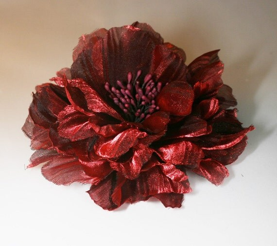 2pcs-100mm 5Colors Peony Organdy Flower for corsage,shoes,accessory etc.-(F233-Red Wine)