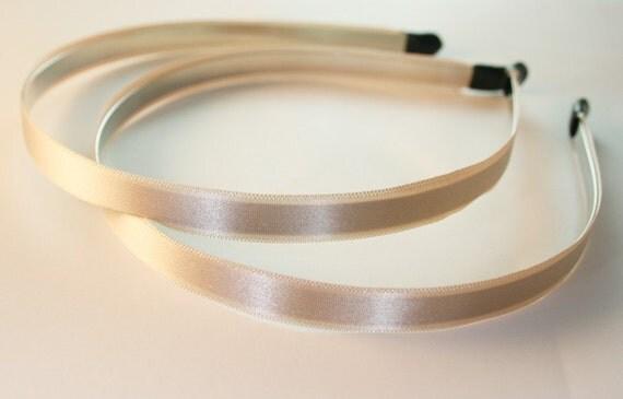 3PCS-10MM Handmade Satin Headband with end rubber tip -BEIGE (E260-Beige)