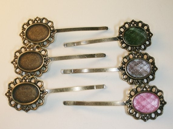 Antique Bronze Bobby Pin with Filigree Pad 20PCS-Pad 18mm X12mm Total Size 70mm (C518-20)